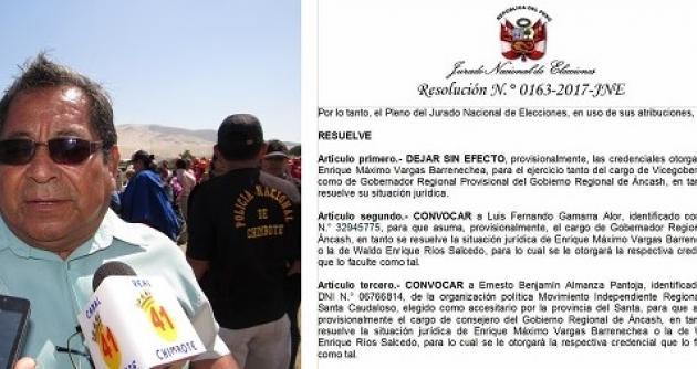 JNE acredita a gobernador Luis Gamarra y convoca a consejero accesitario — Áncash